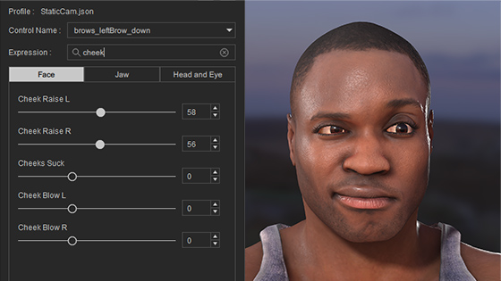 Facial motion capture data